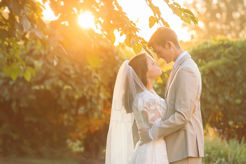 backlit photo of a bride and groom by Rachel Nielsen