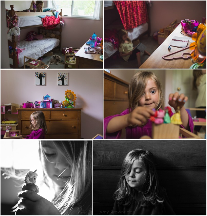 child playing in her room by Amy Brownridge