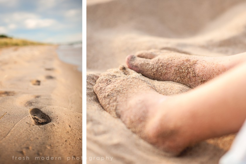 feet in the beach sand by Mickie DeVries of Fresh Modern Photography