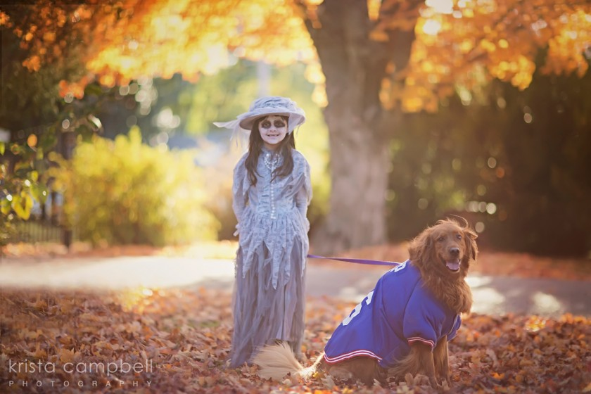 girl and dog dressed up for Halloween by Krista Campbell