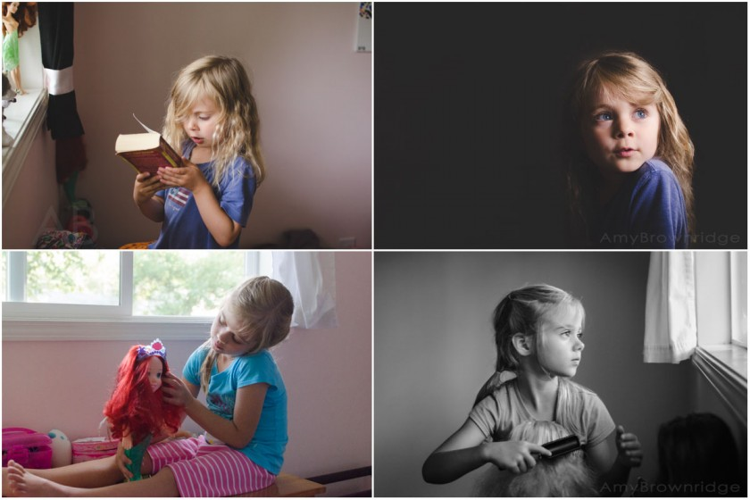 girl playing in her pink room by Amy Brownridge
