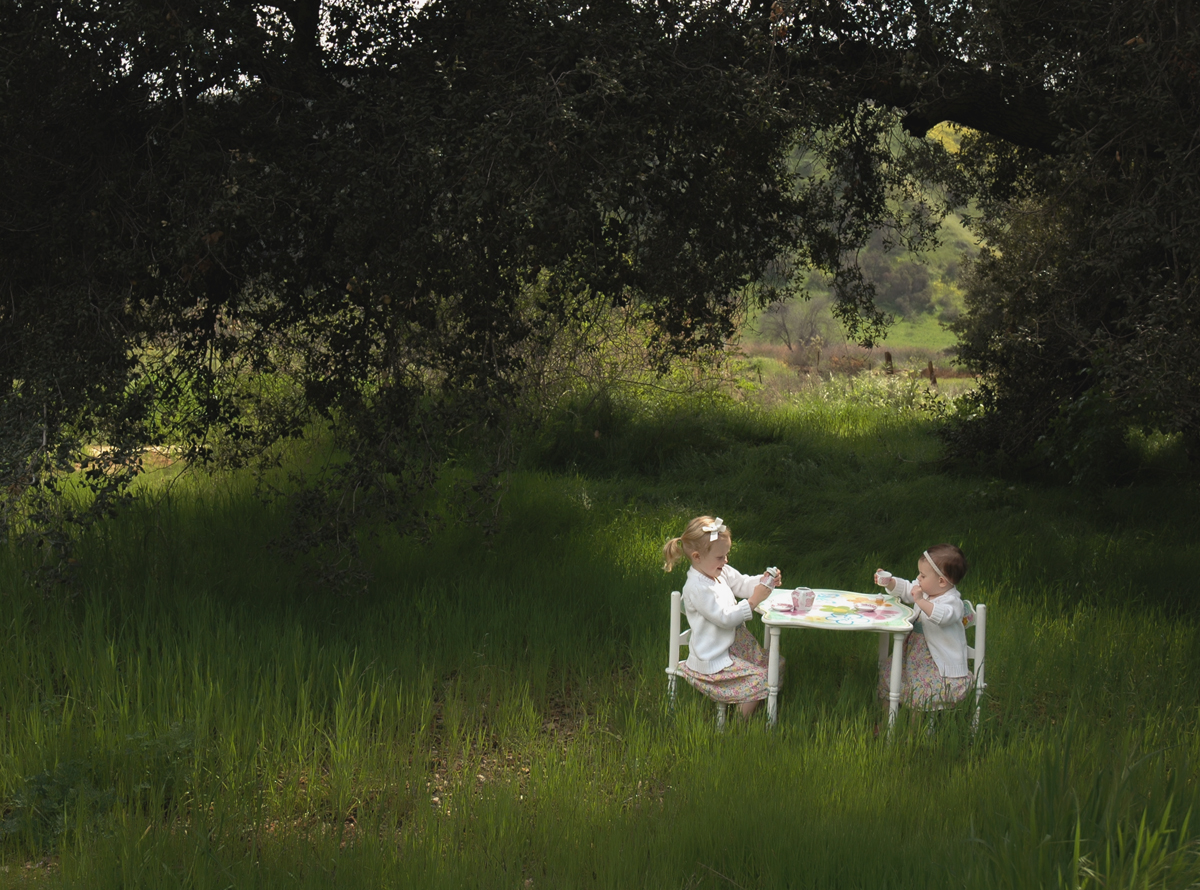 young girls having a tea party in a field by Allison Zercher of Snippets from Suburbia