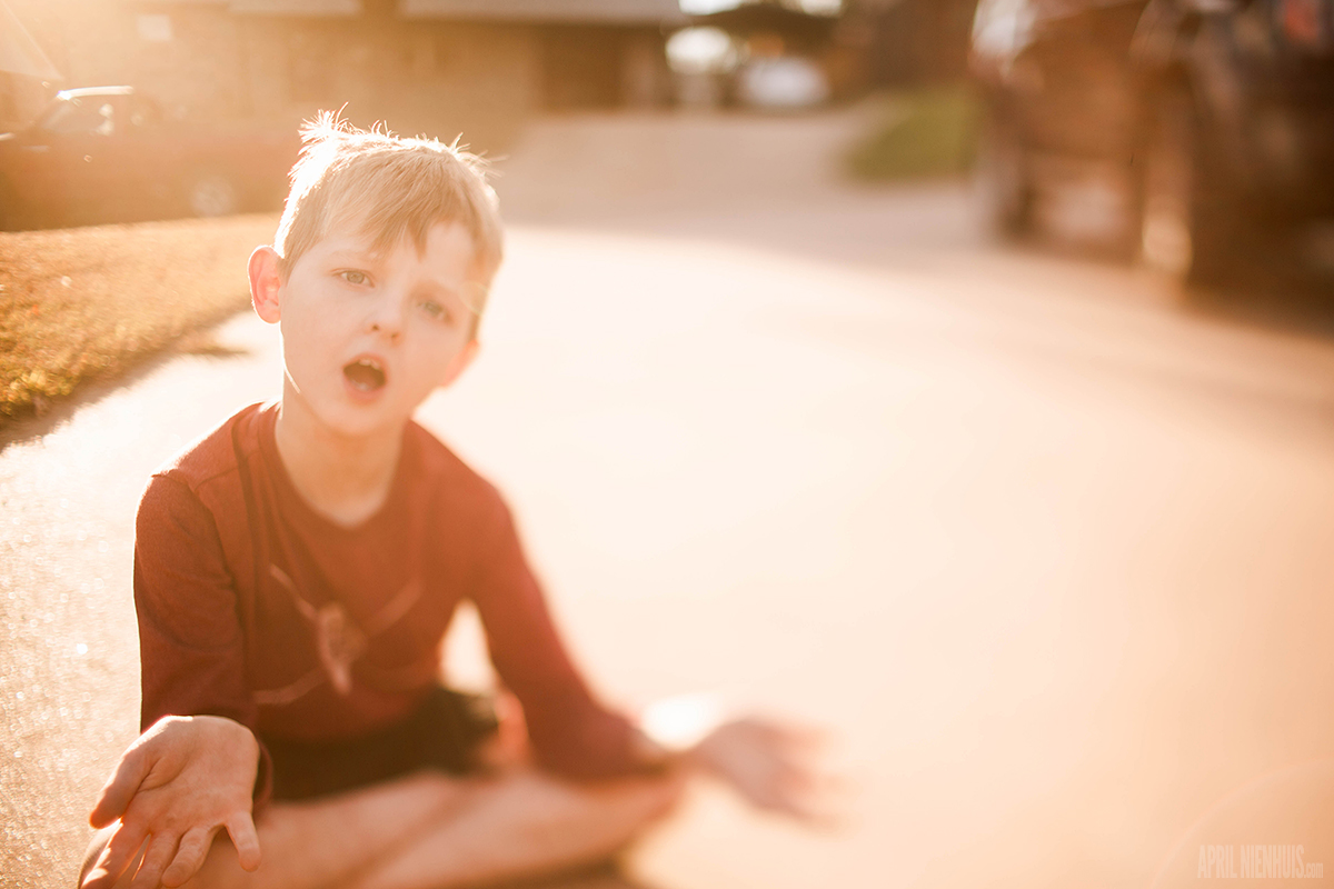 freelensed picture of boy with backlight by April Nienhuis