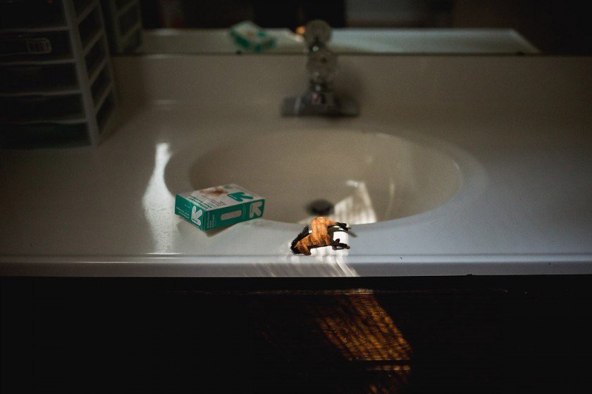 toy horse and bandaids on the sink by Erin Hensley