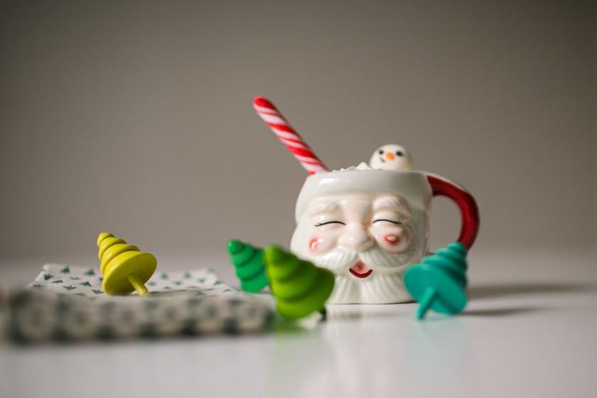 Santa Clause mug with hot chocolate and marshmallows by Kristin Dokoza