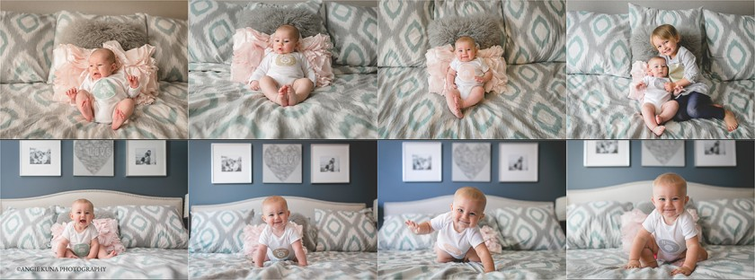 baby photos each month on the bed by Angie Kuna