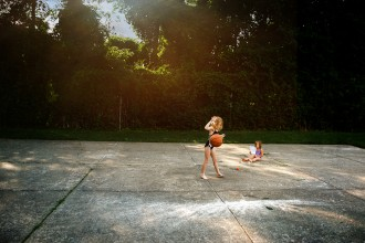 creative edit of young girl bouncing a basketball by Rebecca Wyatt