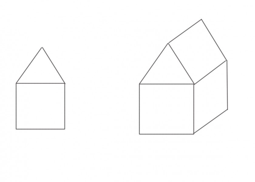 drawing of houses by Rebecca Wyatt