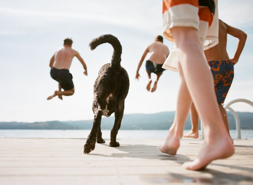 family and dog running into the water by Kim Hildebrand