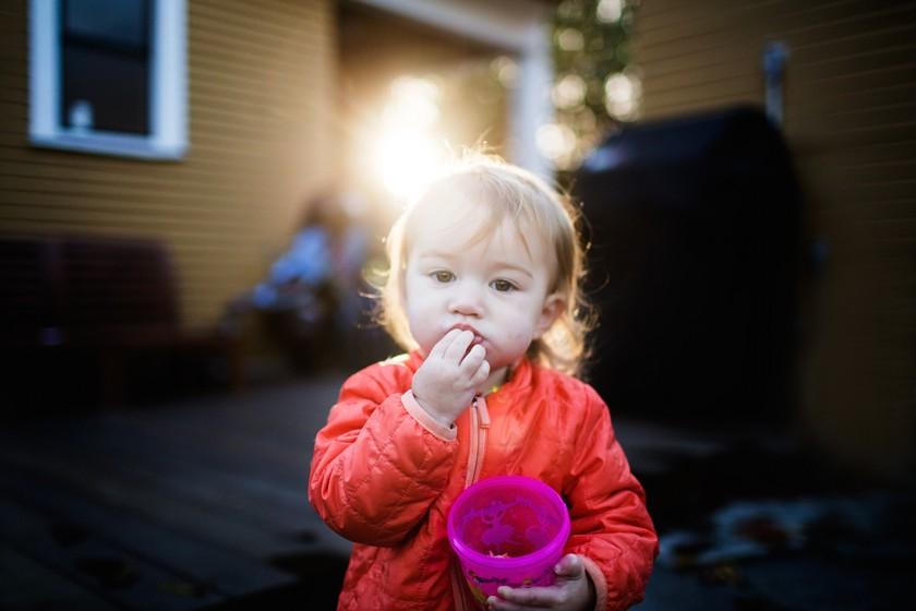 editing photo fo toddler eating by Elena Blair