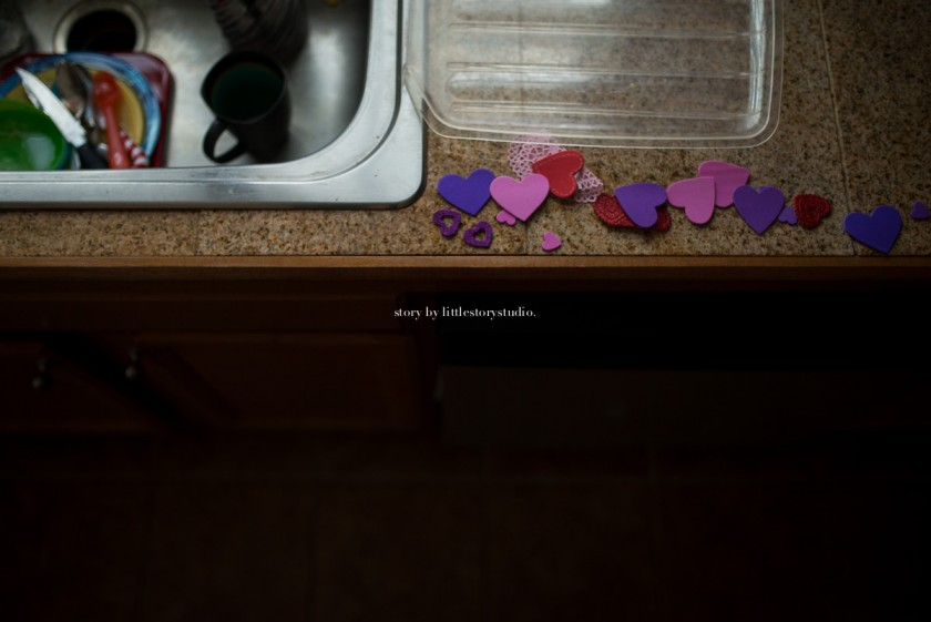 heart stickers on the kitchen counter by Andrea Moffatt