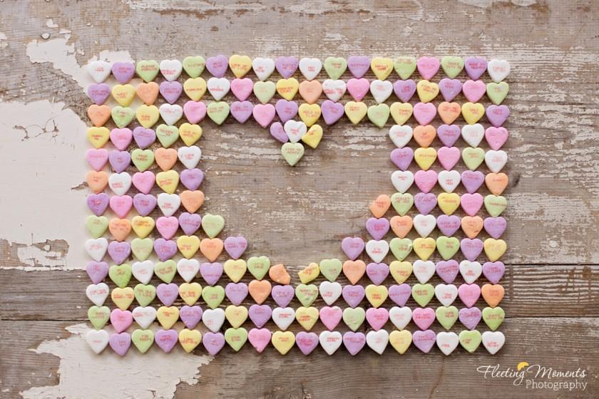 photo of candy hearts in a pattern by Elizabeth Gelineau