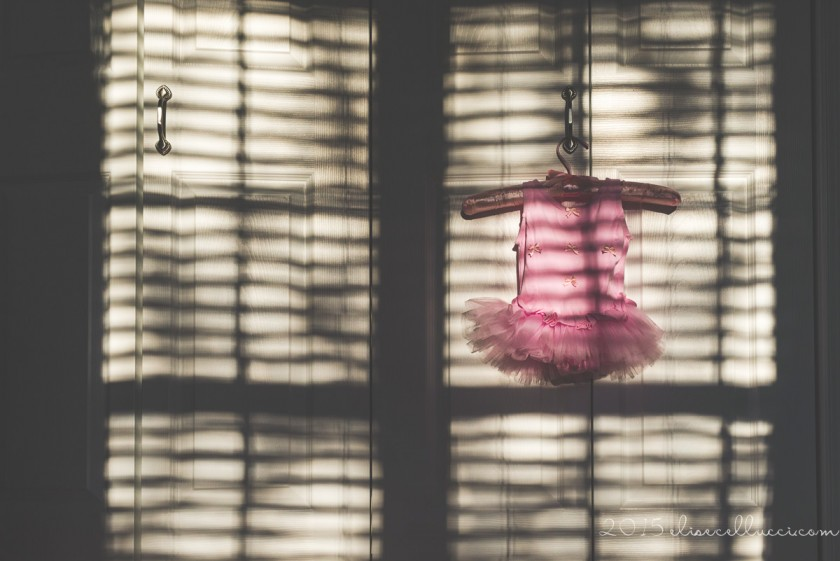 pink ballerina outfit on a hanger by Elise Cellucci