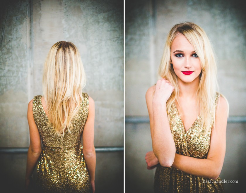 portrait of woman wearing a gold sparkly dress by Lissa Chandler