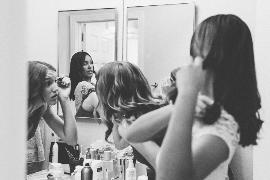 Layered Documentary Black And White Photo Of Girls Getting Ready By