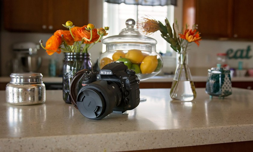 Nikon D810 sitting on a kitchen counter by Allison Gipson