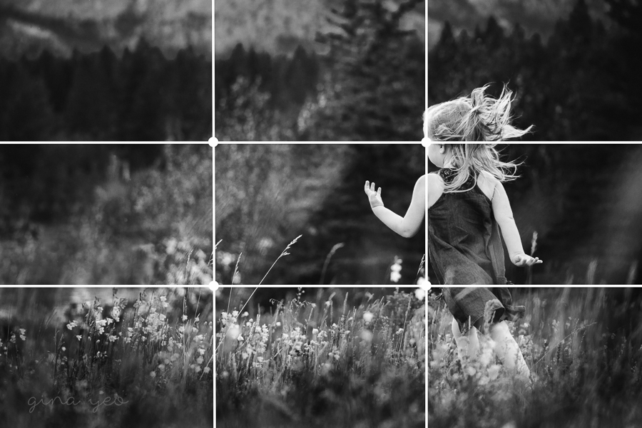 girl running in a field using the rule of thirds for composition by Gina Yeo