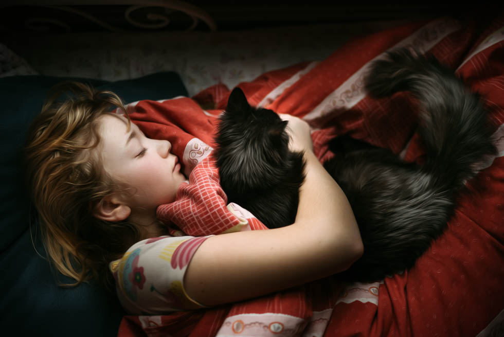 photo of a young girl taking a nap with her black cat by Caroline Jensen