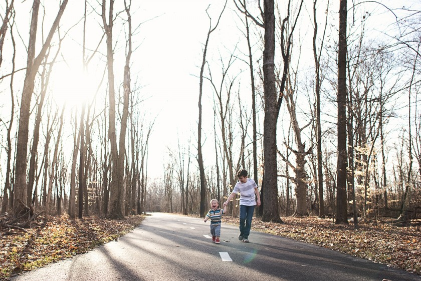 picture of two brothers walking down the road by Kellie Bieser