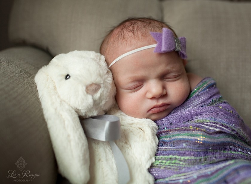 sleeping baby by a stuffed bunny rabbit by Lisa Rappa