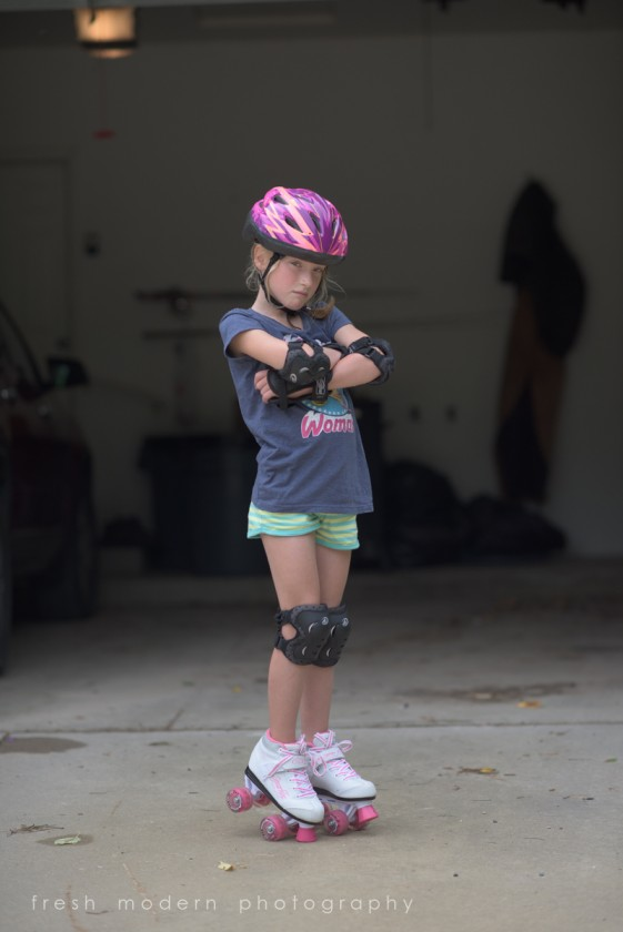 before picture of girl wearing roller skates by Mickie DeVries