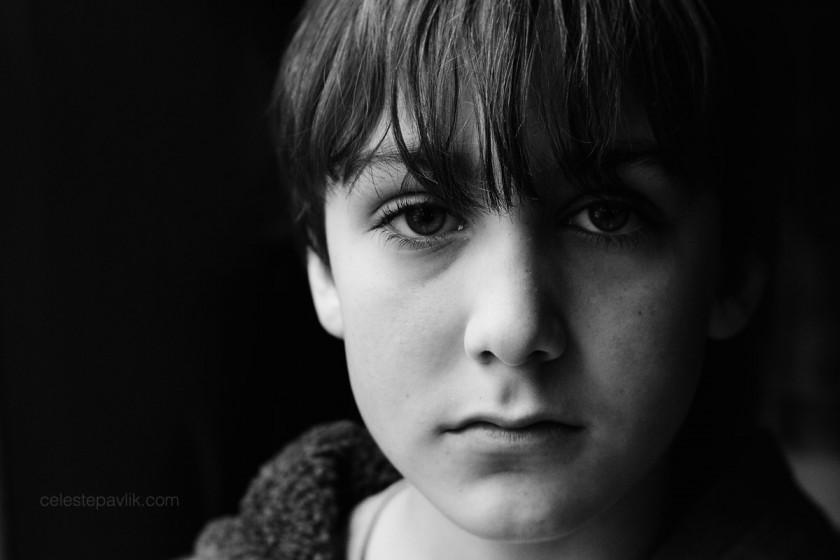 black and white portrait of boy by Celeste Pavlik
