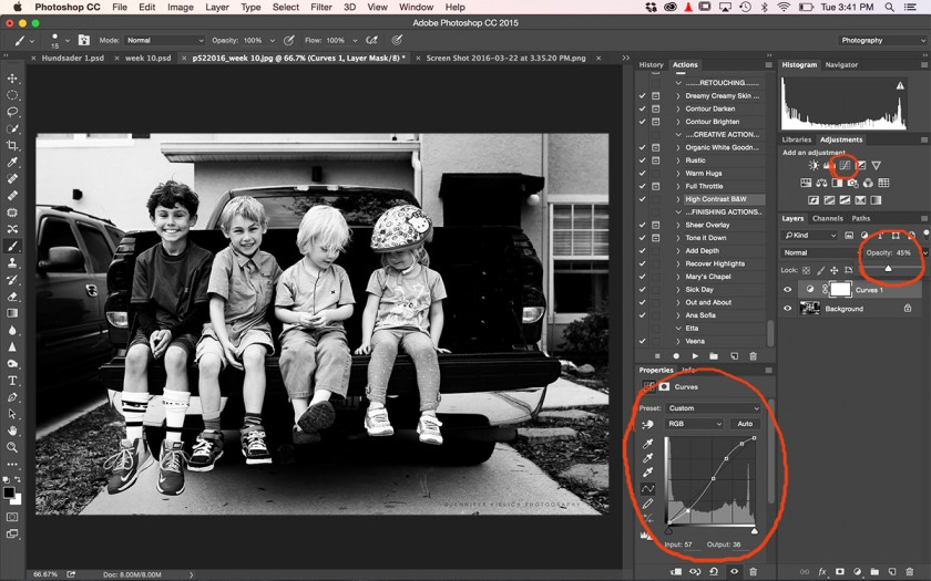 screenshot of curves adjustment in Photoshop by Jennifer Kielich