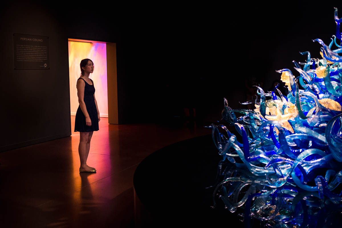self portrait in the Seattle glass museum by Alice Che