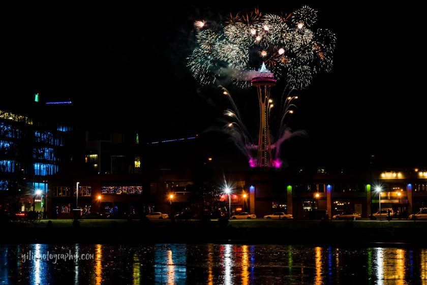 picture of fireworks show in the city by Carrie Yuan