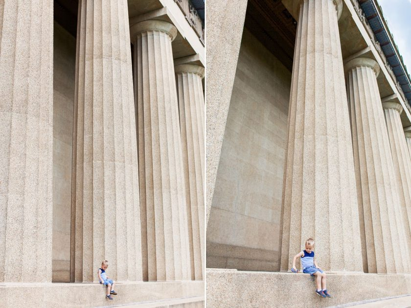 boy sitting on the steps of the Parthenon by Leanne Vice