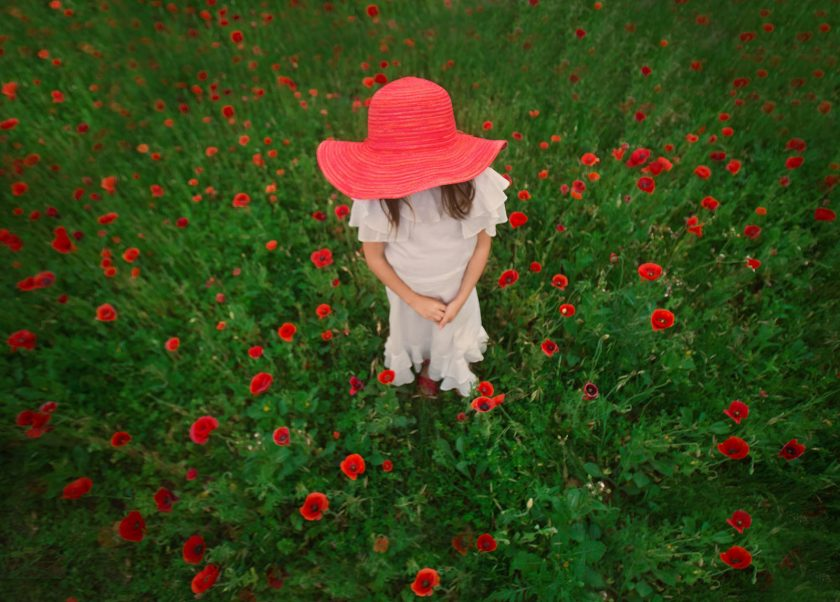 picture of a girl in a red hat standing in a field of flowers by Sally Molhoek