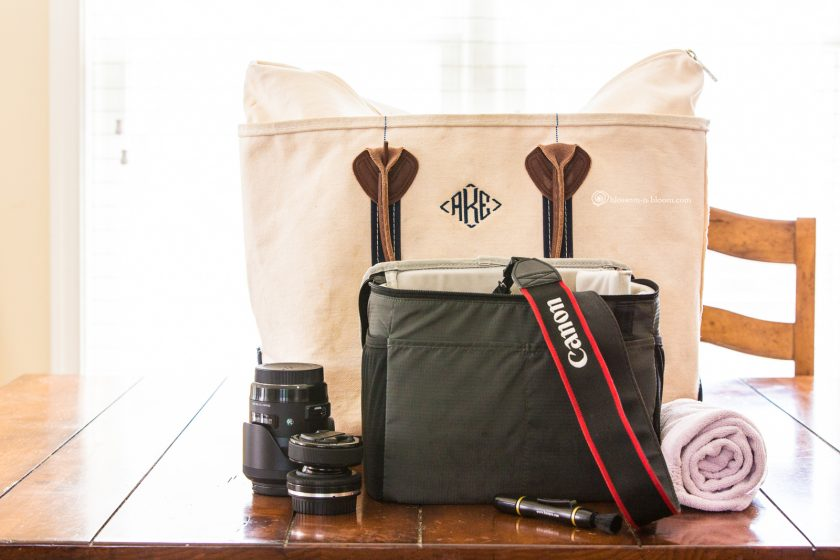picture of camera gear packed up for the beach by Annmarie Kopey