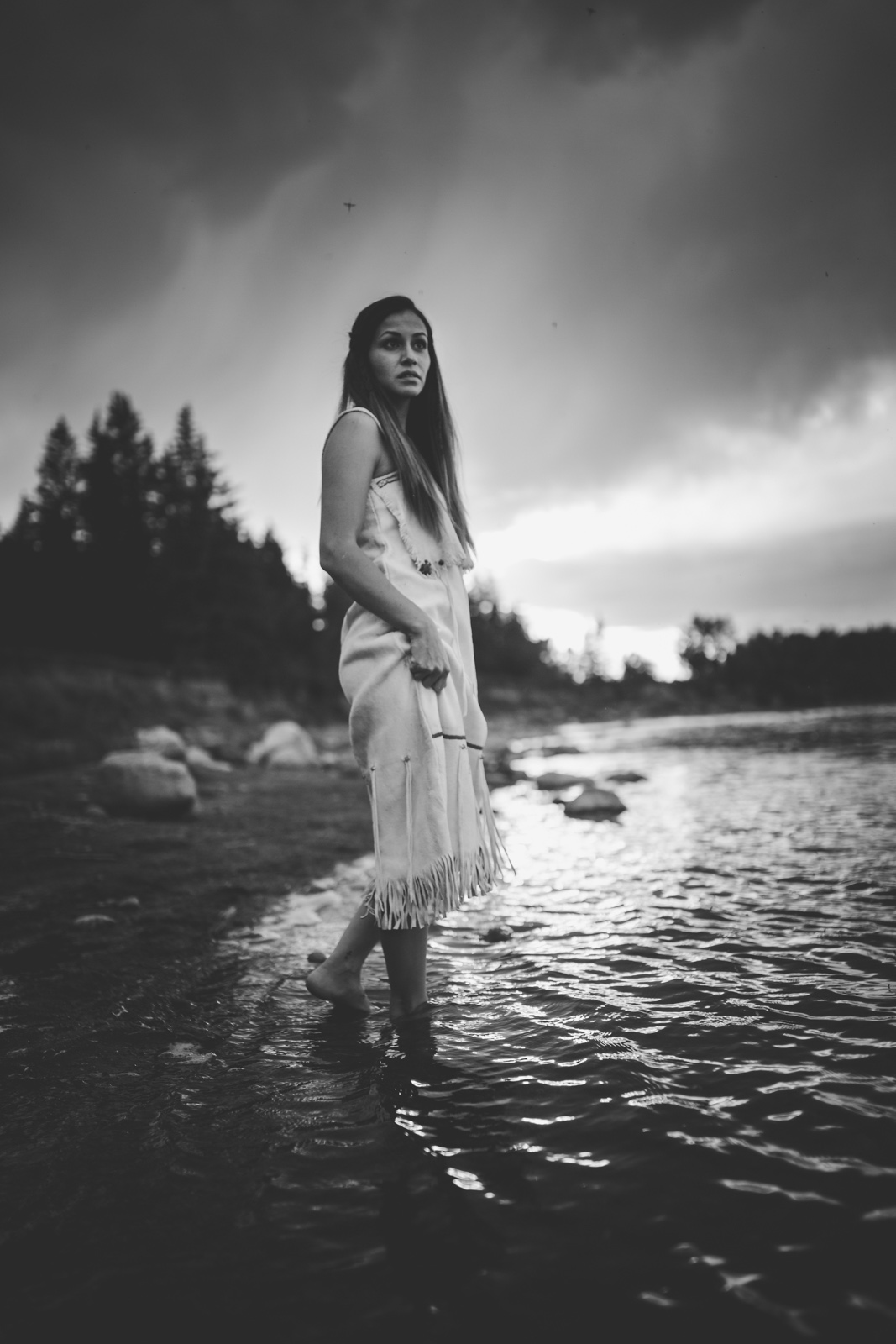 Black and white portrait of woman in the water by andrea brooke photography