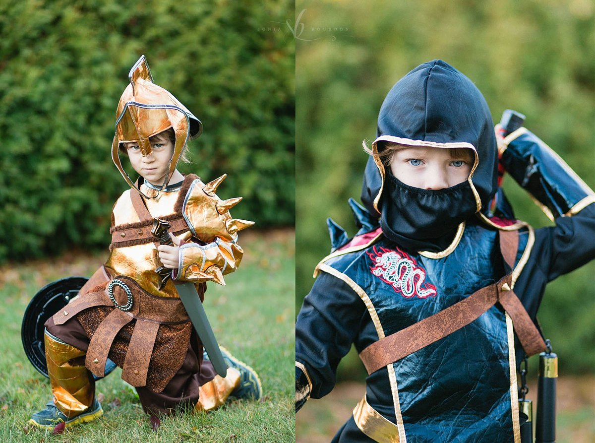 picture of boys dressed up like knights for Halloween by Sonia Bourdon