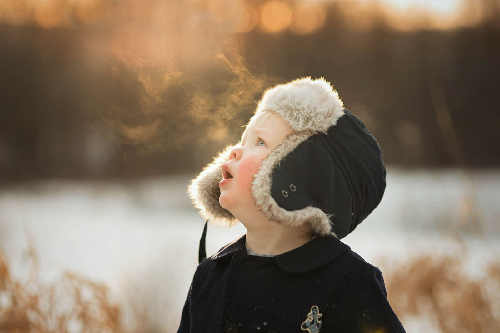 backlit photo of boy looking up in the winter by Meg Loeks