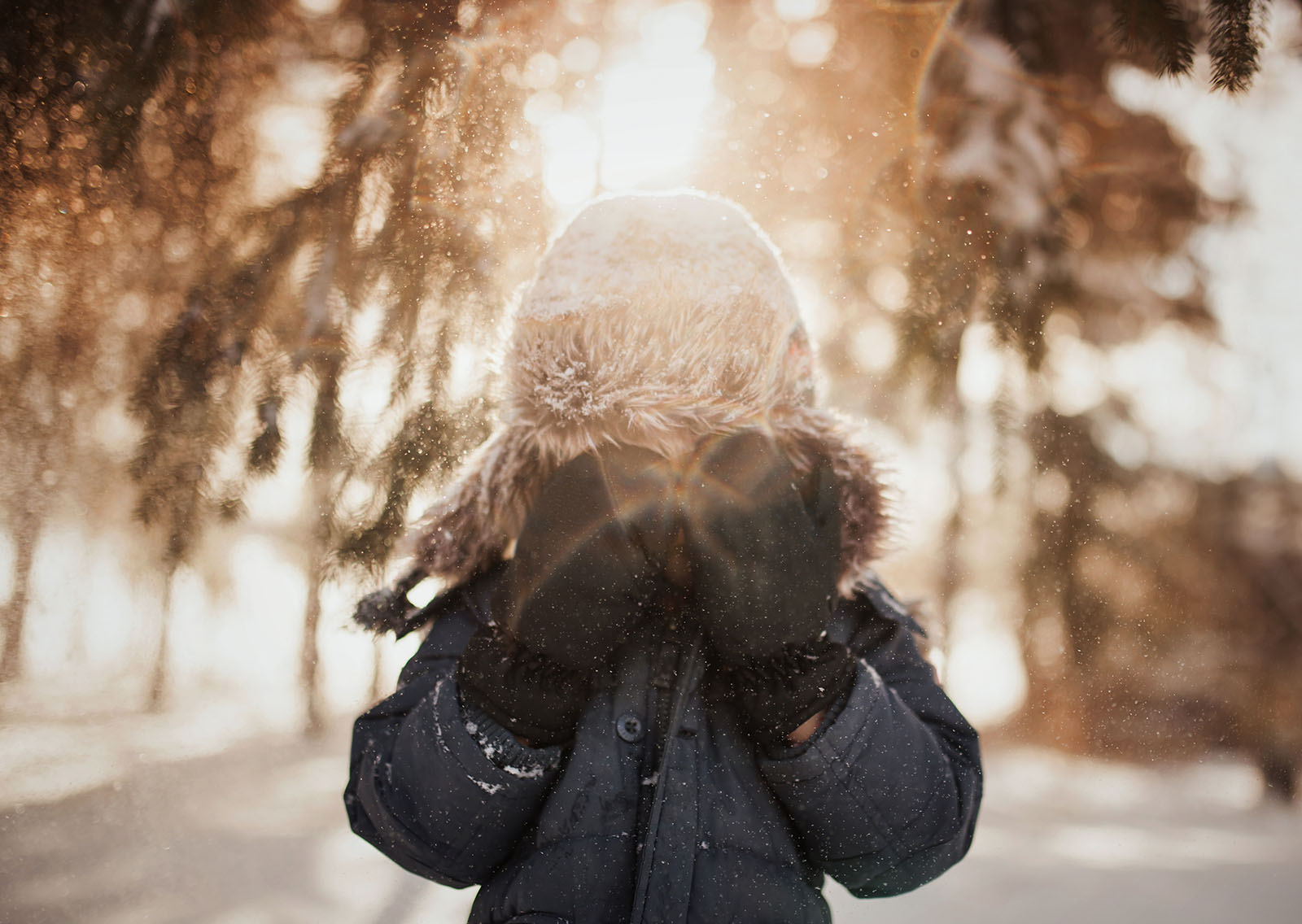 backlit pic of snow falling on boy by Meg Loeks