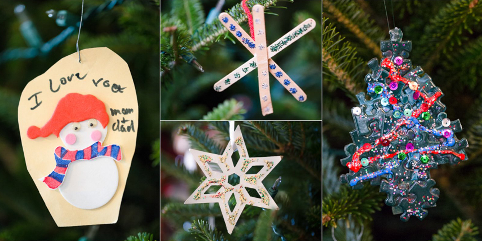 kids homemade Christmas ornaments by Kathy Roberts