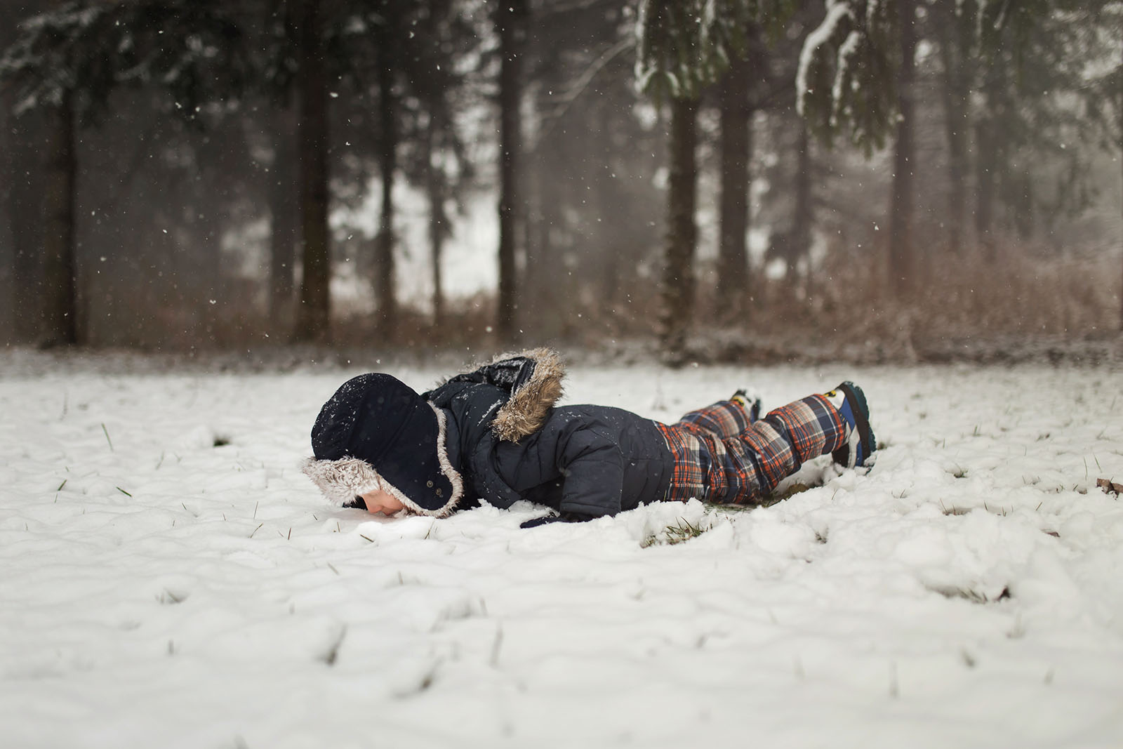 photo of boy laying down and eating the snow by Meg Loeks