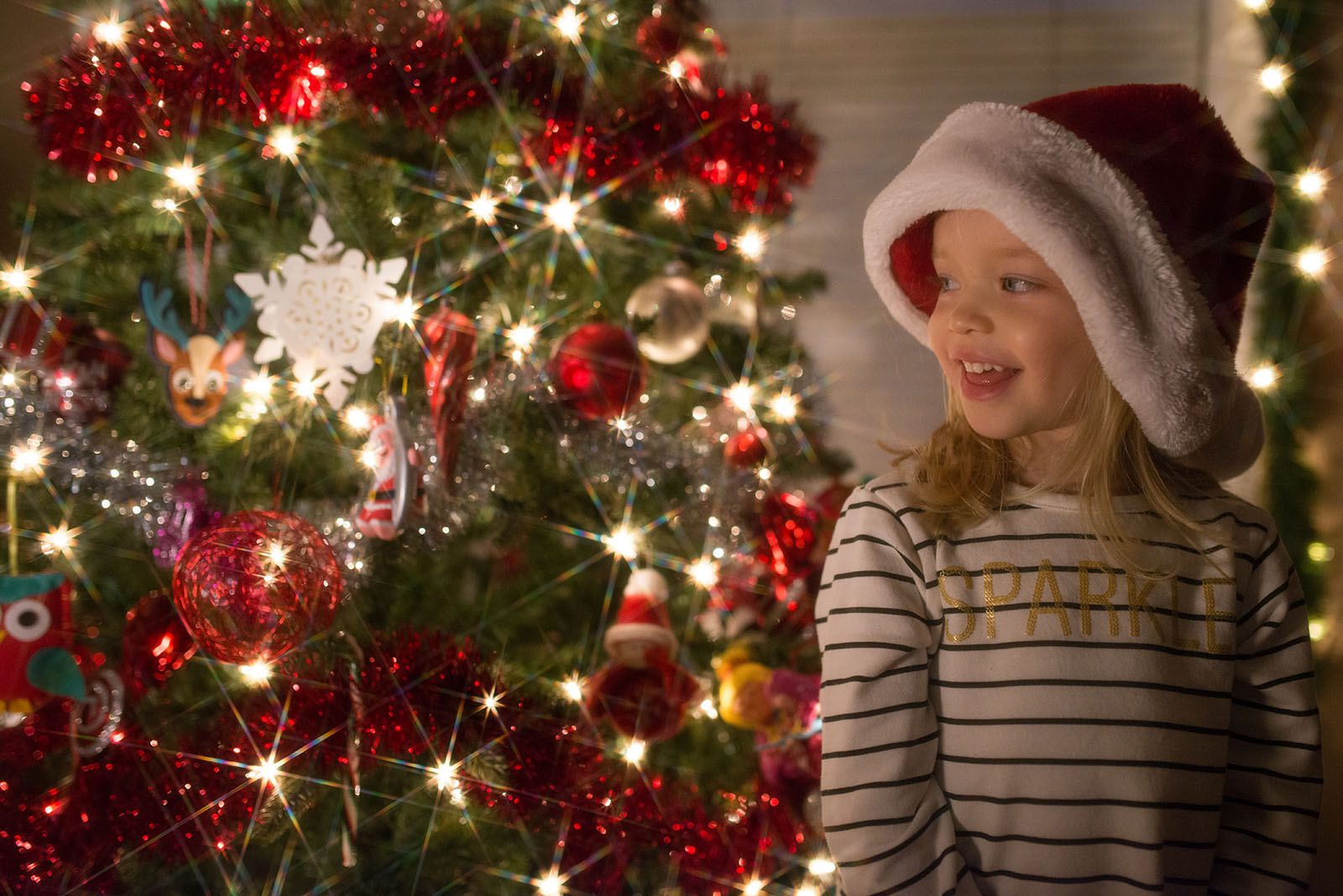 photo of girl standing in front of sparkly Christmas tree by Tiffany Kelly