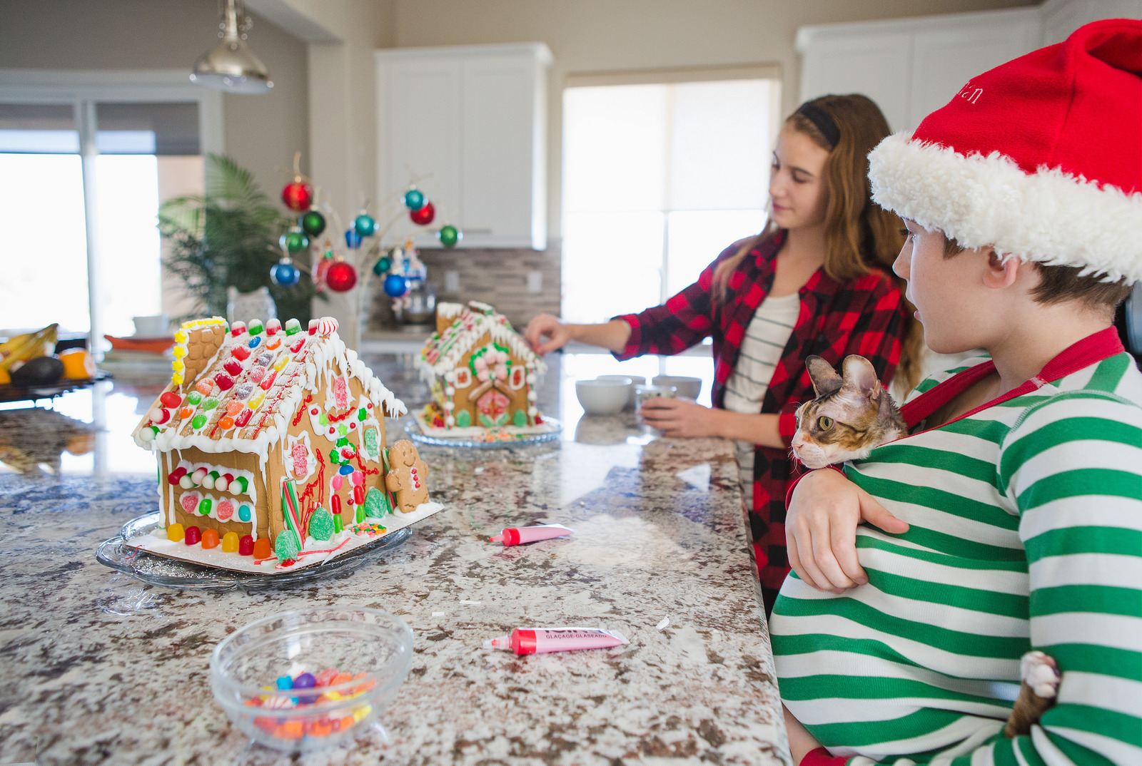 photo of kids and cat decorating gingerbread houses by Tammy Wahl
