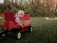 picture of baby sitting in a radio flyer wagon outside by Ashley Manley