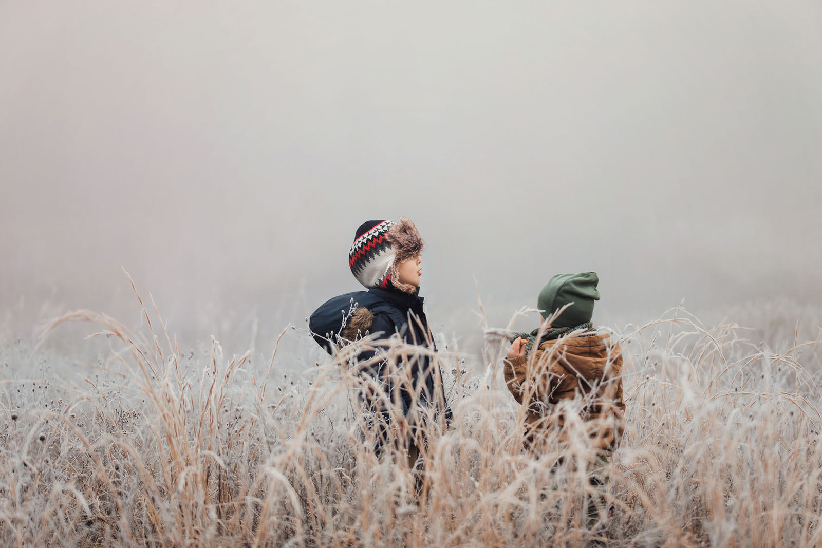 picture of boys standing in a frosted field by Meg Loeks
