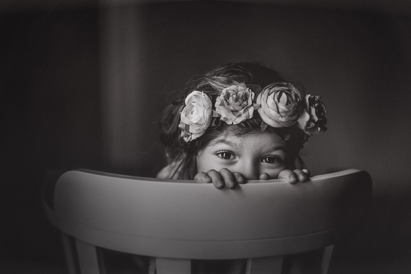 Black And White Photo Of Girl Wearing A Flower Crown By Anita