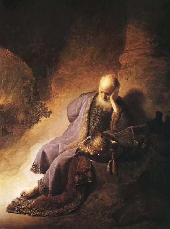 Jeremiah Lamenting the Destruction of Jerusalem by Rembrandt in 1630