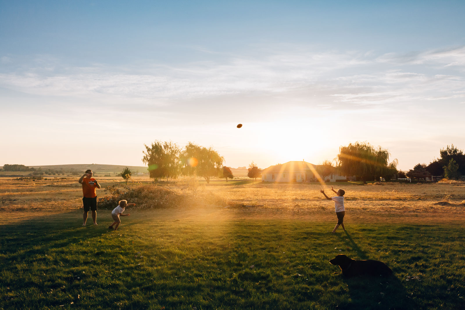 photo of dad and boys throwing a football in a field by Jessie Nelson