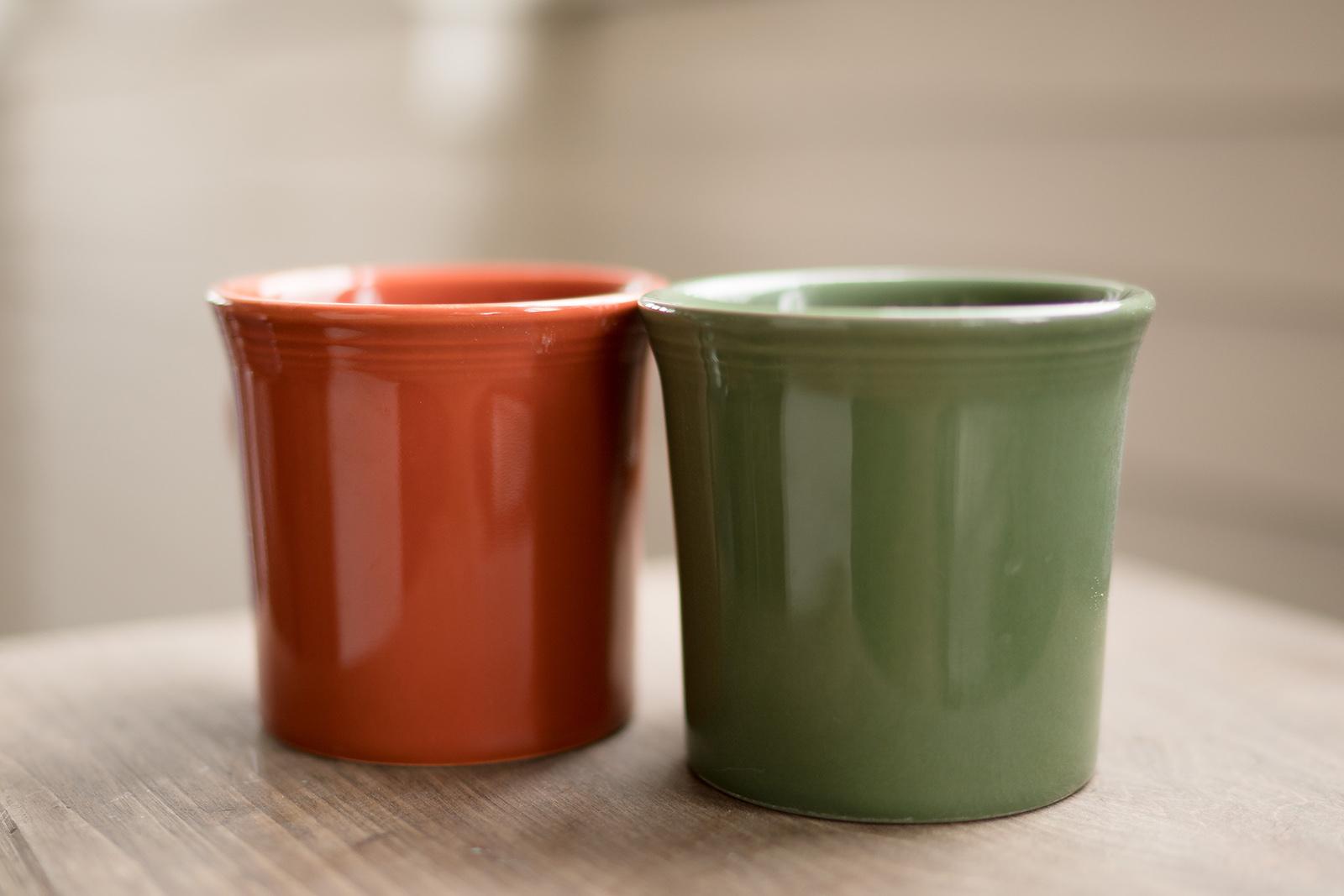 Fiesta-ware mugs by Caroline Jensen