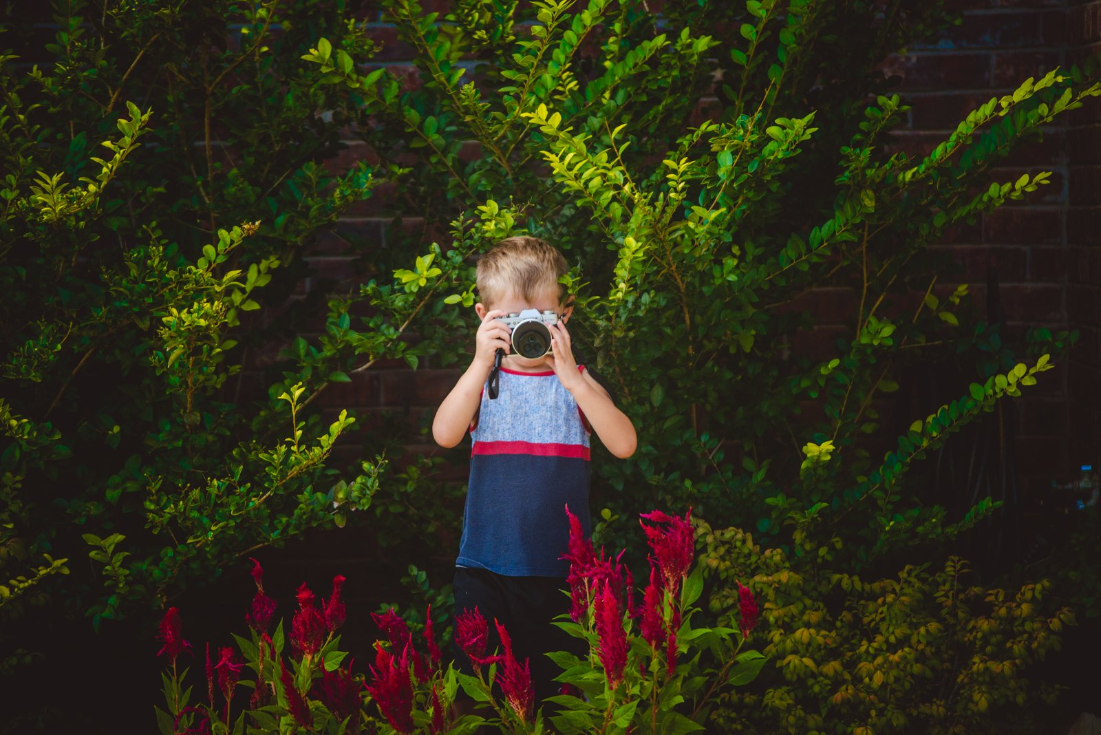 boy-taking-pictures-in-flowers-and-greenery-by-natalie-greenroyd
