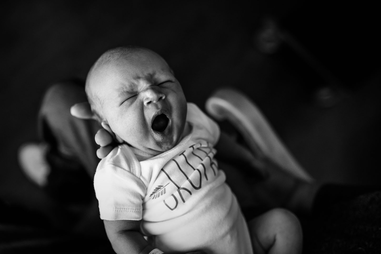 baby yawning black and white fresh 48 session andrea martin