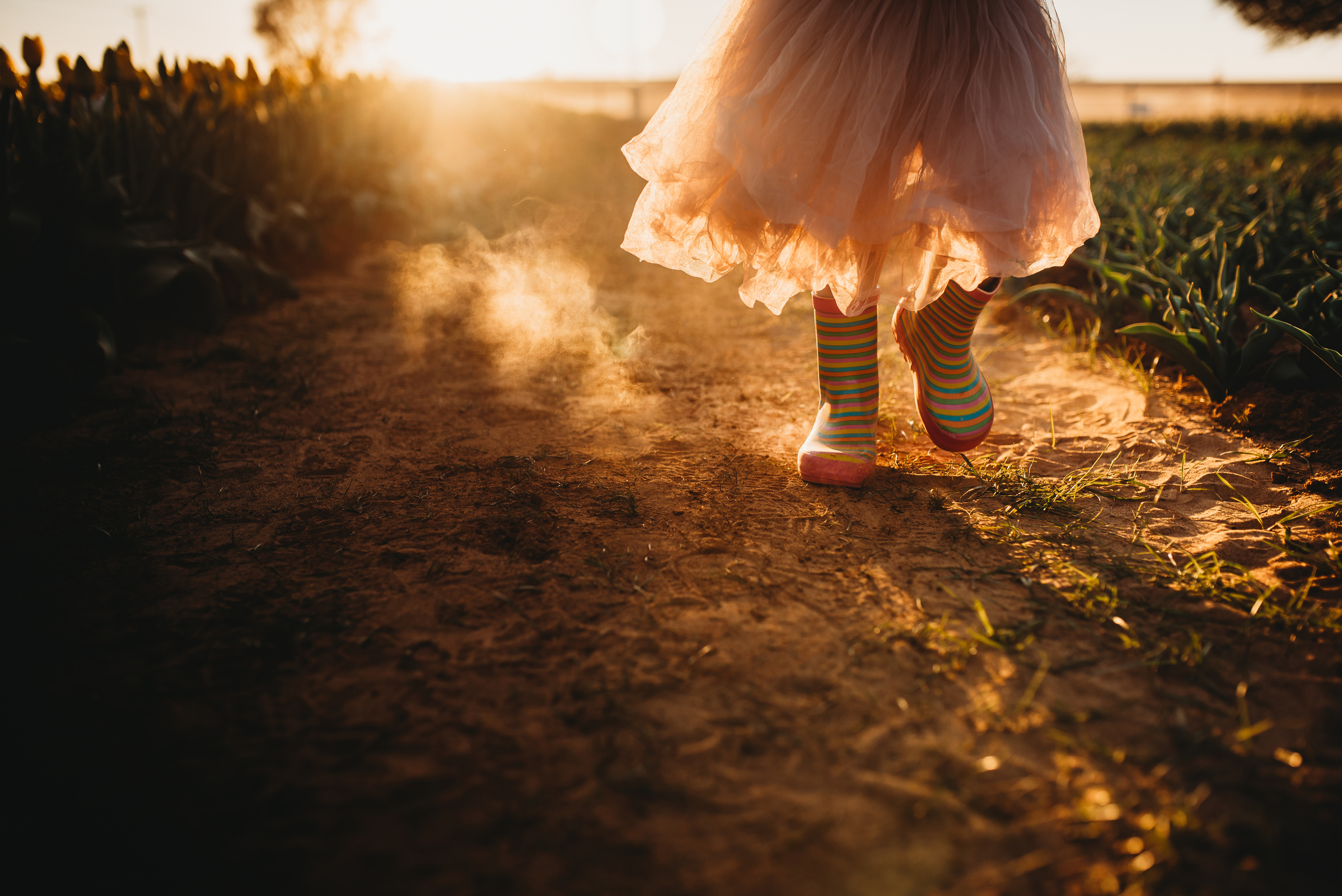child in tulle dress and rainboots walking on dirt path at sunset amber talbert