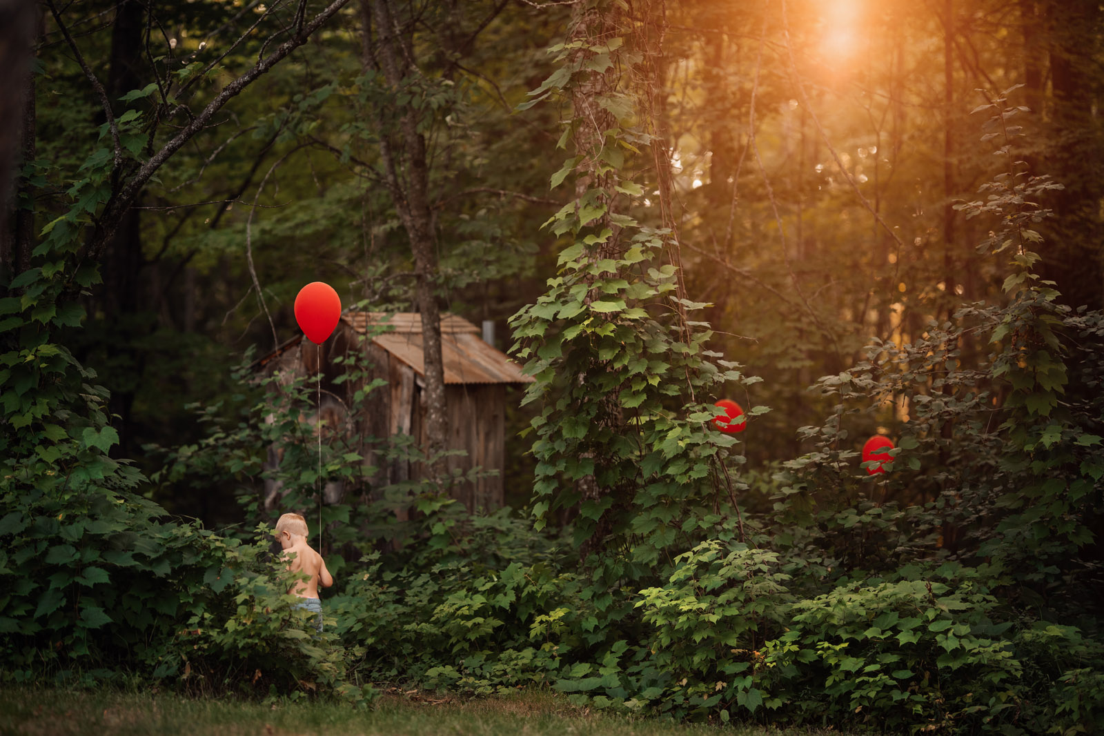 color theory boy walking with red balloons meg loeks